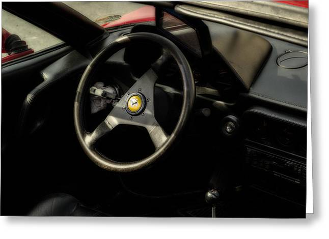1980s Greeting Cards - Ferrari 308 Interior Greeting Card by Georgia Fowler