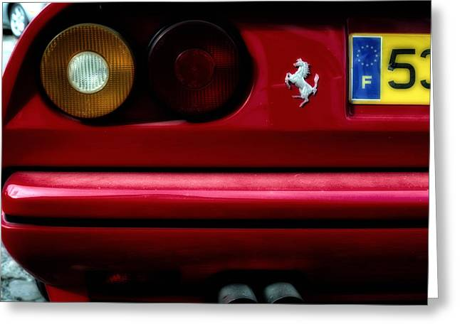1980s Greeting Cards - Ferrari 308 Rear Detail Greeting Card by Nomad Art And  Design