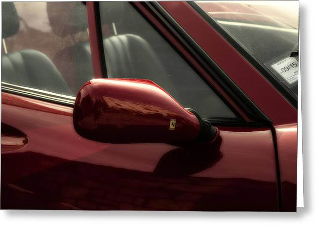 Wing Mirror Greeting Cards - Ferrari 308 Side View Greeting Card by Nomad Art And  Design