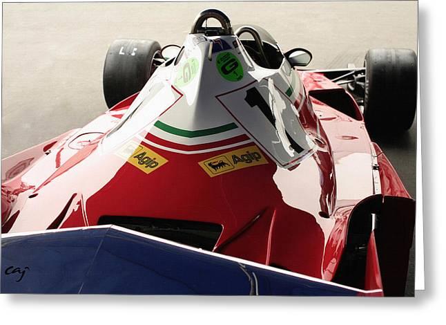 Curt Johnson Greeting Cards - Ferrari 312 T2 F-1  Niki Lauda Aft Greeting Card by Curt Johnson