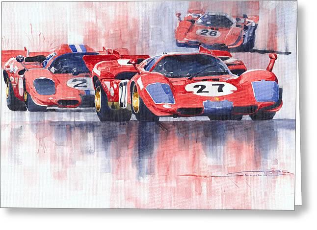 Daytona Greeting Cards - Ferrari 512 S 1970 24 Hours of Daytona Greeting Card by Yuriy  Shevchuk
