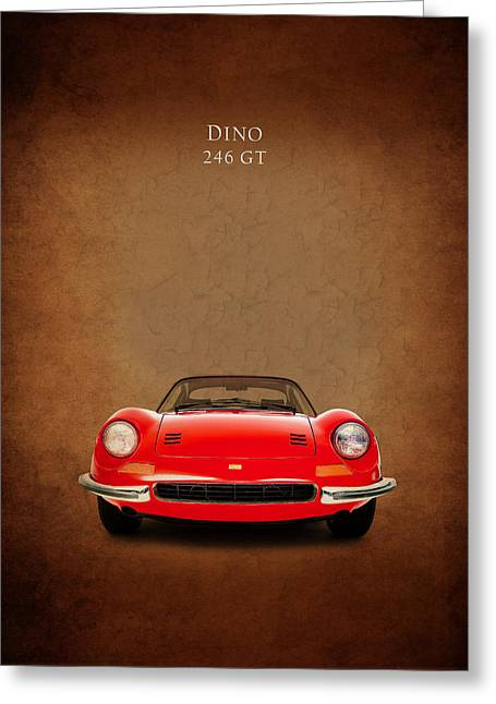 Classic Ferrari Greeting Cards - Ferrari Dino 246GT Greeting Card by Mark Rogan