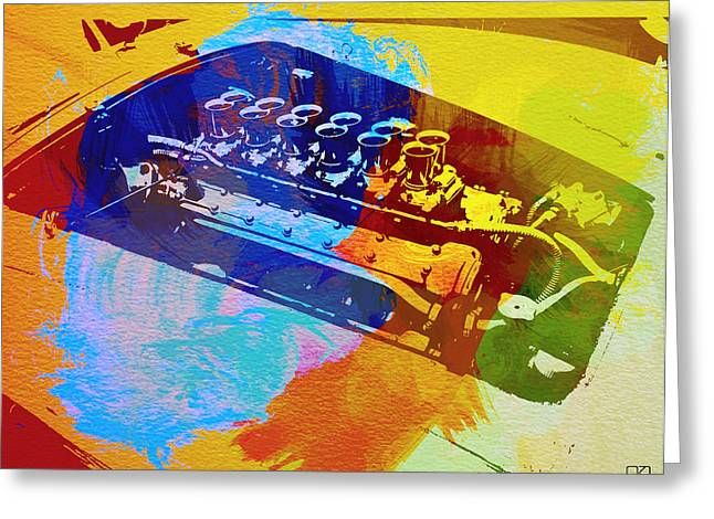 Grill Greeting Cards - Ferrari Engine Watercolor Greeting Card by Naxart Studio