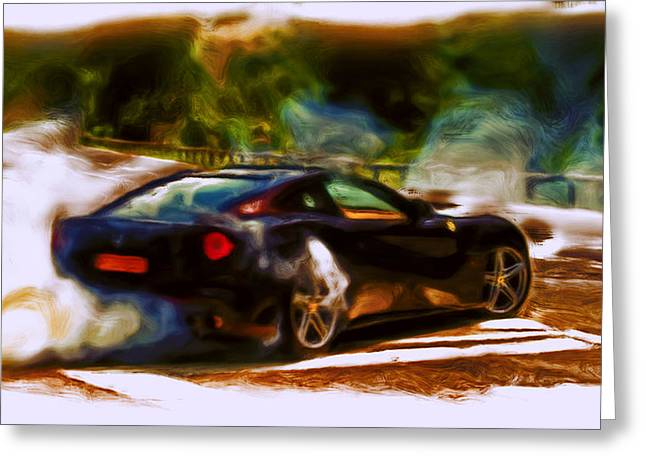 French Open Paintings Greeting Cards - Ferrari F 12 Burnout Greeting Card by Brian Reaves