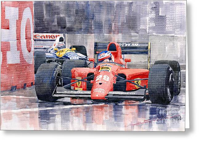 Ferrari F1 Jean Alesi Phoenix Us Gp Arizona 1991 Greeting Card by Yuriy  Shevchuk