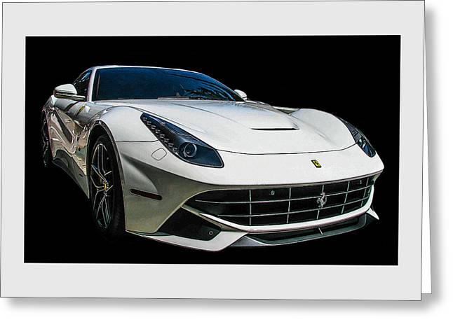 Ferrari F12 Berlinetta In White Greeting Card by Samuel Sheats