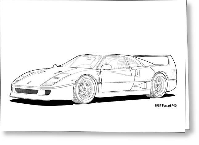 Technical Digital Art Greeting Cards - Ferrari F40 1987 Line Illustration Greeting Card by DigitalCarArt