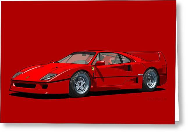 Technical Digital Art Greeting Cards - Ferrari F40 Rosso Corsa 1987 Greeting Card by DigitalCarArt