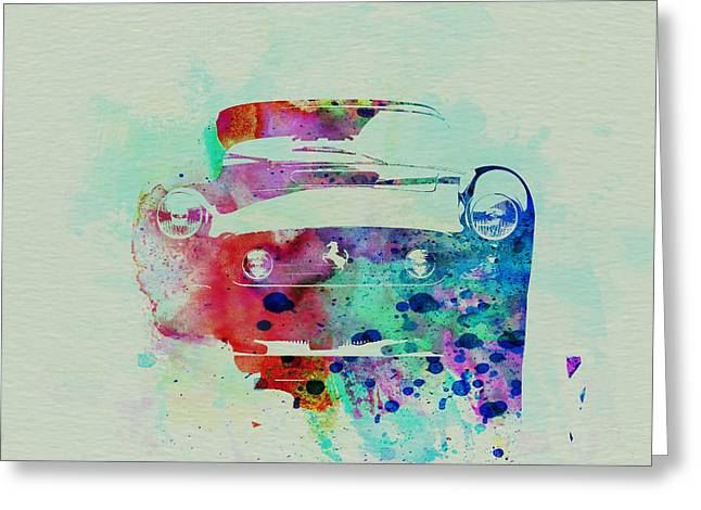 Cylinder Greeting Cards - Ferrari Front Watercolor Greeting Card by Naxart Studio
