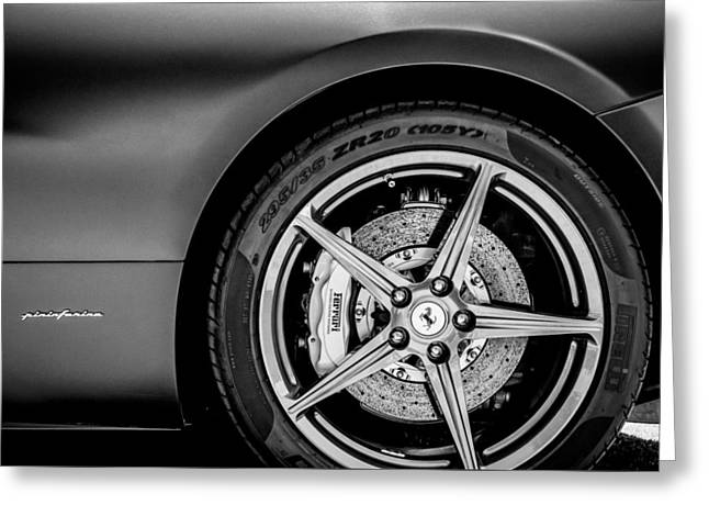 Famous Photographer Greeting Cards - Ferrari Wheel Emblem -1526bw Greeting Card by Jill Reger
