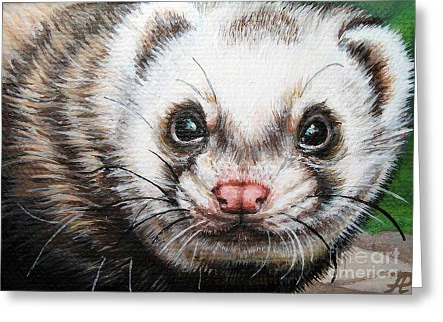 Ferret Greeting Cards - Ferret Greeting Card by Larissa Prince