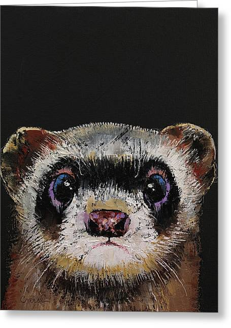 Ferret Greeting Card by Michael Creese