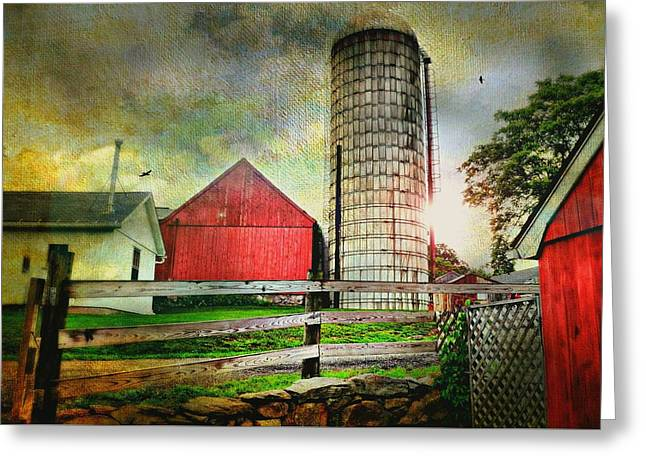 Connecticut Farms Greeting Cards - Ferris Farm Silo Greeting Card by Diana Angstadt