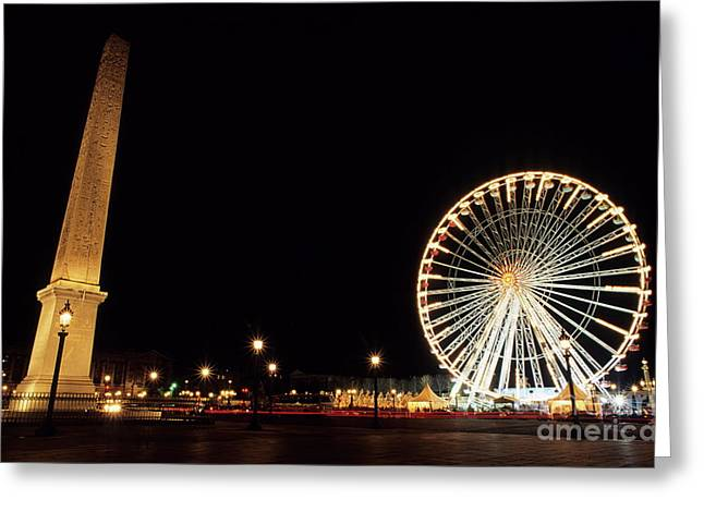 Streetlight Greeting Cards - Ferris Wheel and Luxor Obelisk in the Concorde Plaza in Paris Greeting Card by Sami Sarkis