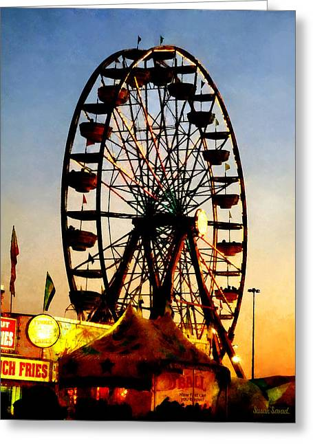 Ferris Wheel Greeting Cards - Ferris Wheel at Night Greeting Card by Susan Savad