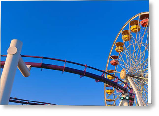 Amusement Ride Greeting Cards - Ferris Wheel At Santa Monica Pier Greeting Card by Panoramic Images