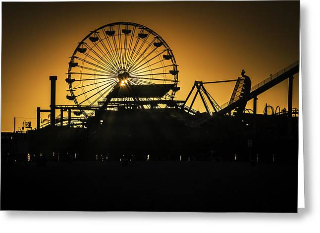 Ferris Wheel Greeting Cards - Ferris Wheel At Sunset Greeting Card by Garry Gay