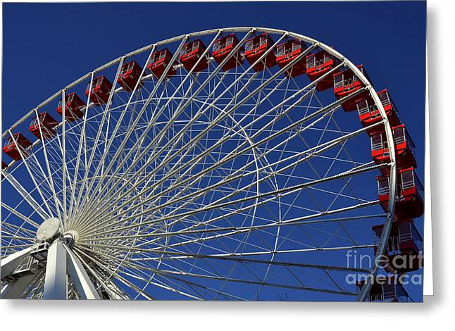 Amusements Greeting Cards - Ferris Wheel Blue Sky Greeting Card by Lane Erickson