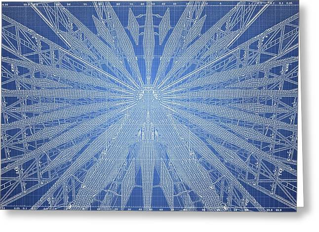 Technical Digital Art Greeting Cards - Ferris Wheel Blueprint Greeting Card by Darren Peet