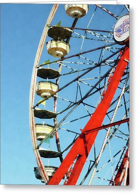 Ferris Wheel Greeting Cards - Ferris Wheel Closeup Greeting Card by Susan Savad