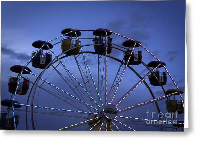 Amusements Greeting Cards - Ferris Wheel Evening Greeting Card by Janice Rae Pariza