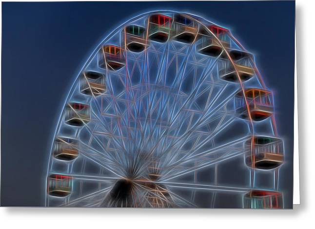Throw Down Greeting Cards - Ferris Wheel Glow Greeting Card by Terry DeLuco