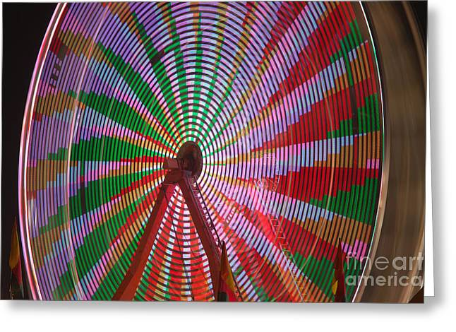 Illuminate Greeting Cards - Ferris Wheel III Greeting Card by Clarence Holmes