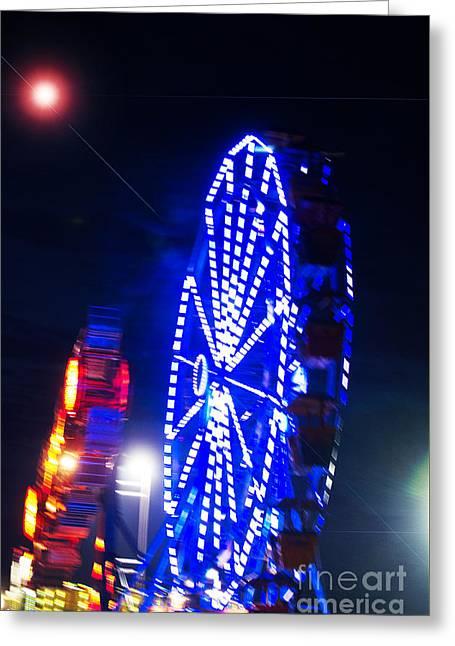 Amusements Greeting Cards - Ferris Wheel in blue lights Greeting Card by ArtyZen Studios - ArtyZen Home