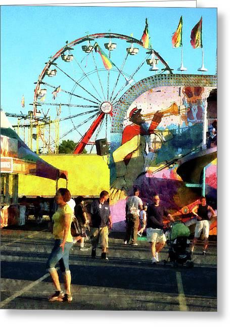 Ferris Wheel In Distance Greeting Card by Susan Savad