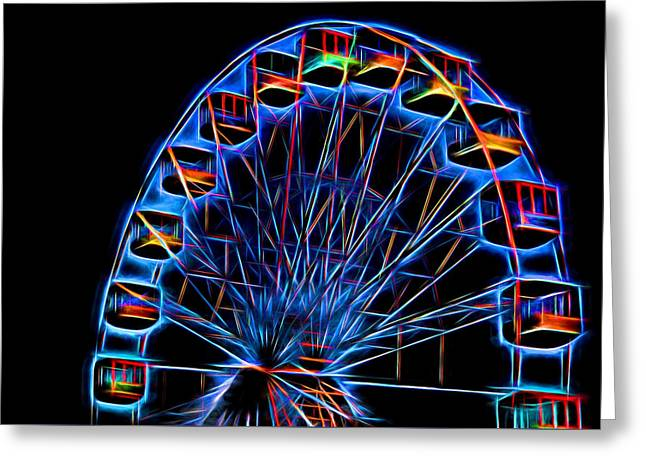 Throw Down Greeting Cards - Ferris Wheel Neon Greeting Card by Terry DeLuco