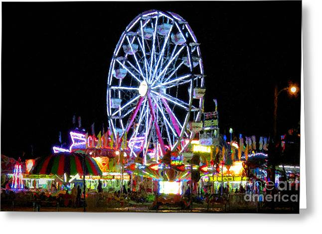 Amusements Greeting Cards - Ferris Wheel Night Greeting Card by Le Artman