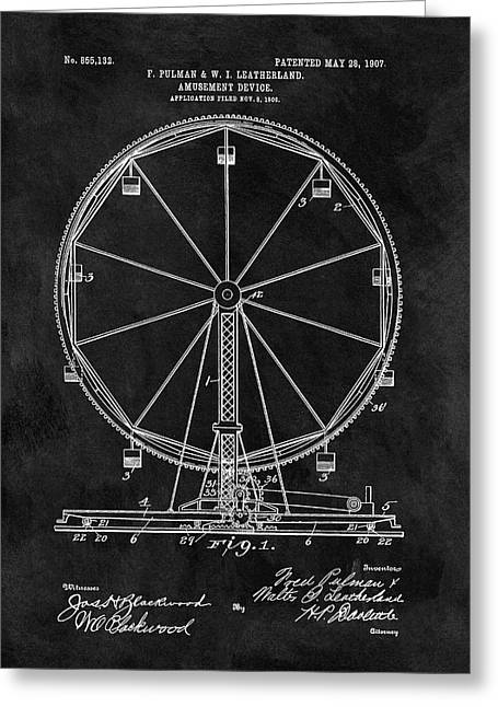 Ferris Wheel Patent Greeting Card by Dan Sproul