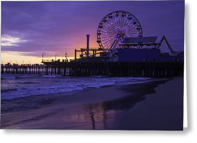Ferris Wheel Greeting Cards - Ferris Wheel Santa Monica Greeting Card by Garry Gay