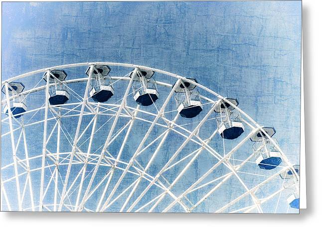 Decorate Greeting Cards - Ferris Wheel Series 1 Blue Greeting Card by Marianne Campolongo