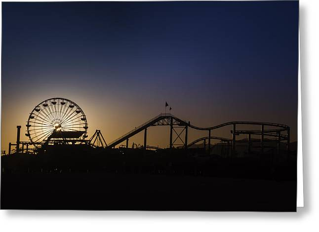 Ferris Wheels Greeting Cards - Ferris Whell At Dusk Greeting Card by Garry Gay