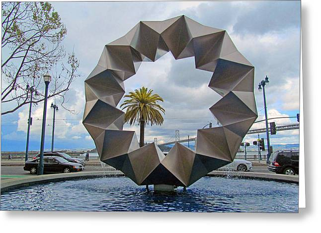 Union Square Greeting Cards - Ferry building bay bridge area sculpture Greeting Card by Tina M Wenger