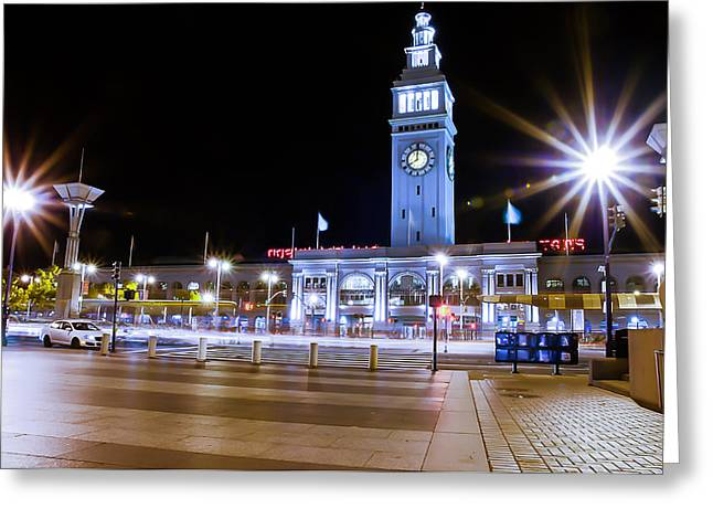 Downtown San Francisco Greeting Cards - Ferry Building at Night Greeting Card by Dan Shehan
