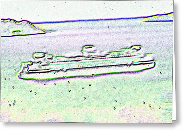 Ferry In The Rain Greeting Card by Tim Allen