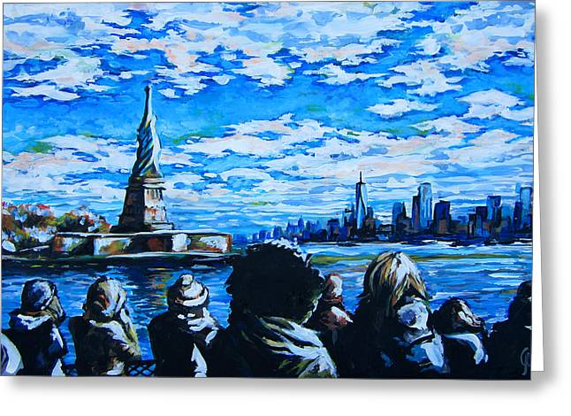 Democracy Paintings Greeting Cards - Ferry to Liberty Island Greeting Card by Angie Mendoza
