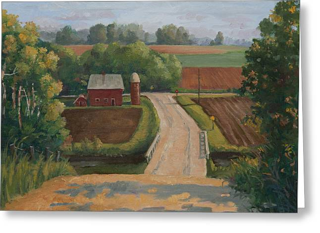 Gravel Road Paintings Greeting Cards - Fertile Farm Greeting Card by Sandra Quintus