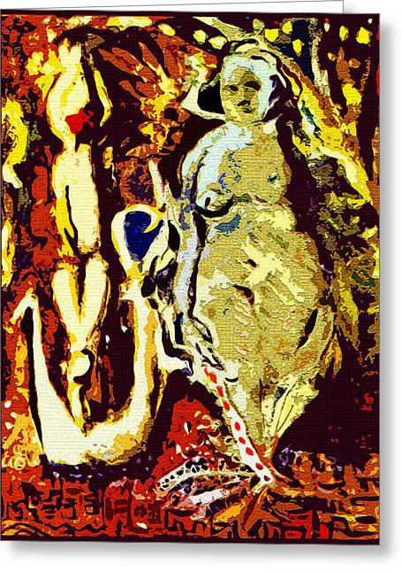 Abstract Digital Greeting Cards - Fertility Goddess Greeting Card by Mindy Newman