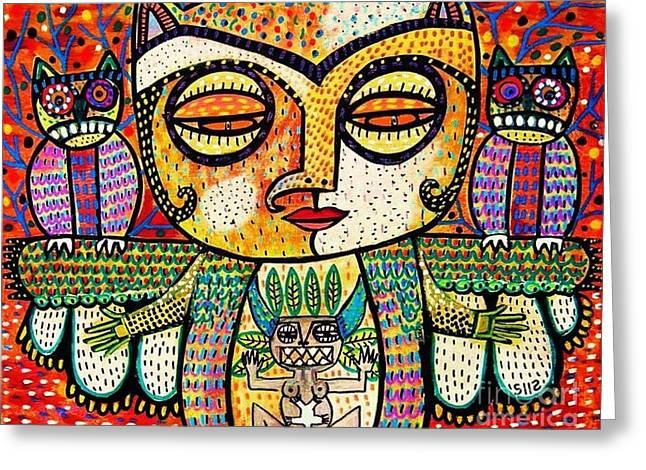 Flowers Of The Smoke Tree Greeting Cards - Fertility Totem Owl Goddess Greeting Card by Sandra Silberzweig
