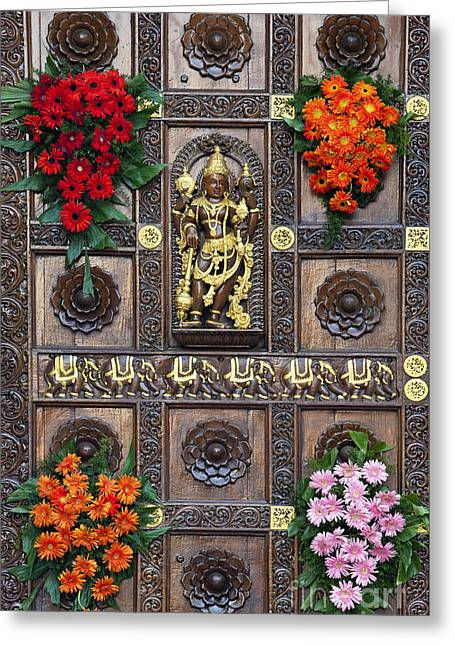 Hindu Goddess Photographs Greeting Cards - Festival Gopuram Gate Greeting Card by Tim Gainey