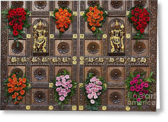 Hindu Goddess Photographs Greeting Cards - Festival Gopuram Gates Greeting Card by Tim Gainey