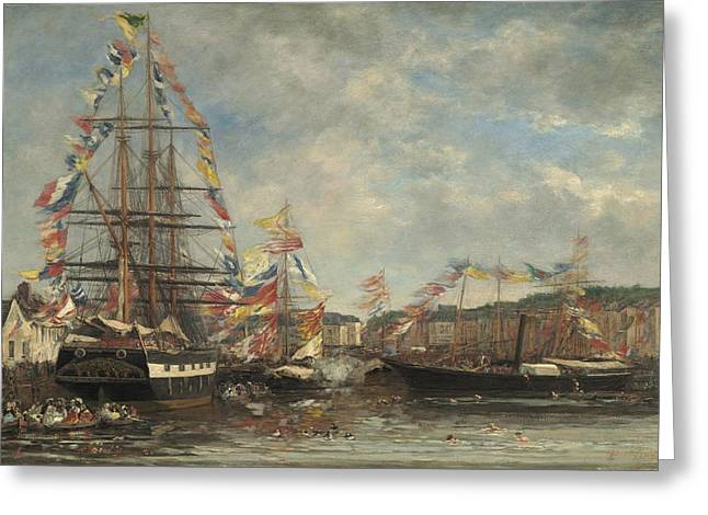 Boats In Harbor Greeting Cards - Festival In The Harbor Of Honfleur Greeting Card by Eugene Boudin