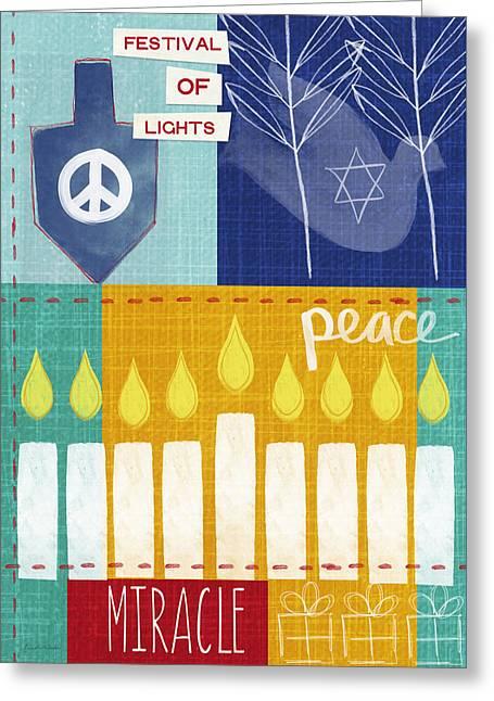 Festival Of Lights- Hanukkah Art By Linda Woods Greeting Card by Linda Woods
