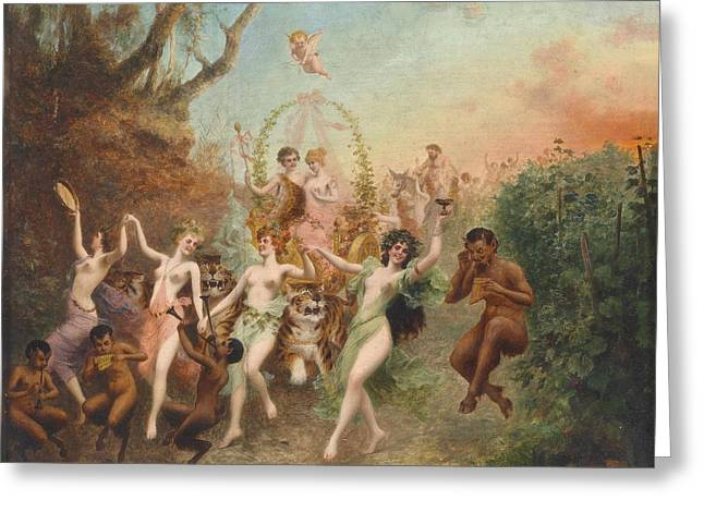 Festivities Greeting Cards - Festival of Nymphs and Fauns Greeting Card by Moritz Stifter
