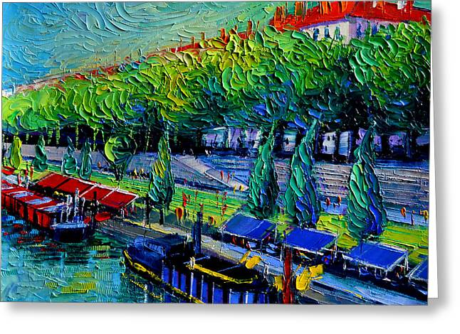 Festive Barges On The Rhone River Greeting Card by Mona Edulesco