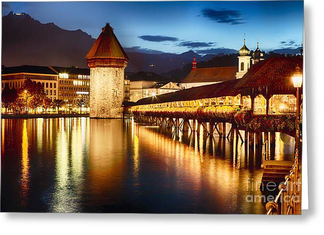 Swiss Photographs Greeting Cards - Festive Covered Footbridge  Greeting Card by George Oze
