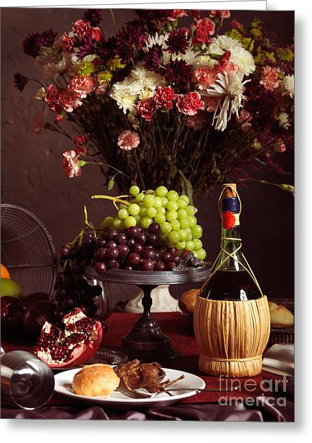 After Dinner Greeting Cards - Festive Dinner Still Life Greeting Card by Oleksiy Maksymenko